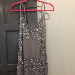 Boohoo Gray and Silver Sequin Dress